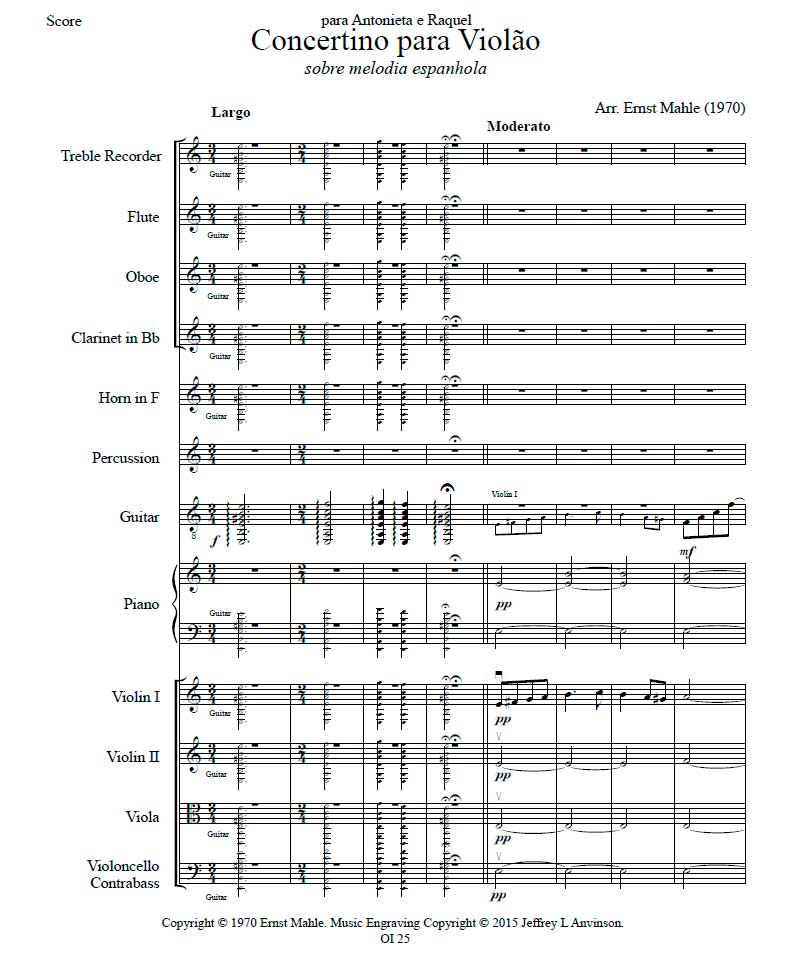 Concertino for Guitar on a Spanish Melody for Guitar and Orchestra, by Ernst Mahle, First Page of the Full Score