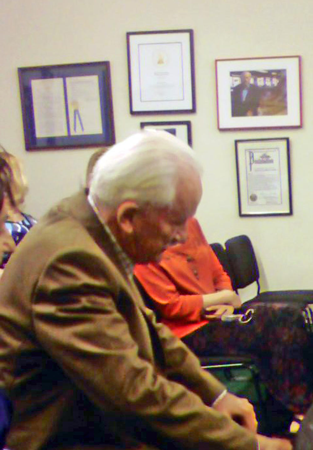 Ernst Mahle in the audience at a concert of his music, Steinway Hall, New York, NY