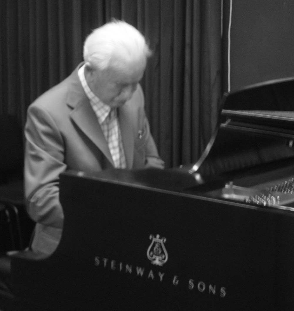 Ernst Mahle playing a piano at Steinway Hall, New York, NY