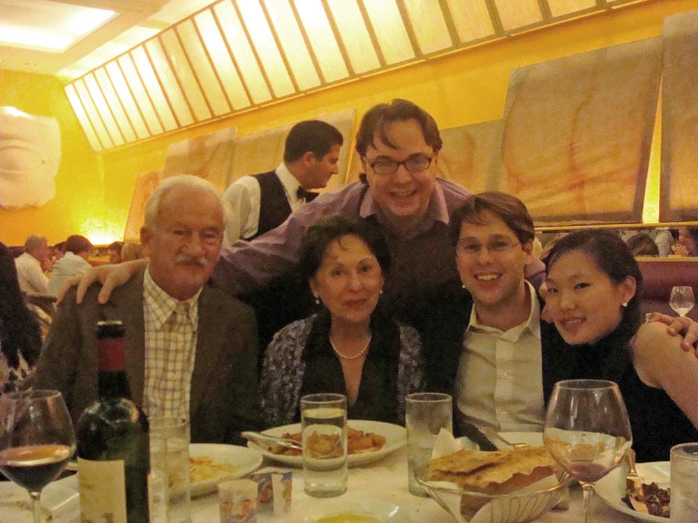Ernst Mahle, Cidinha Mahle, João Paulo Casarotti, Victor, and Heeyeon in a New York restaurant after a Mahle concert