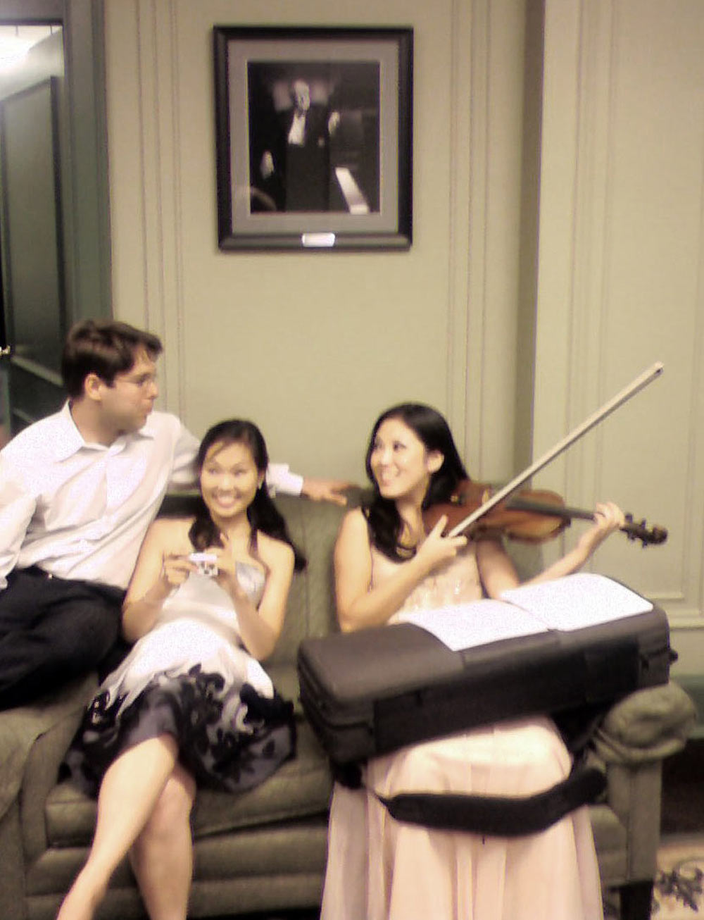 Victor, Heeyeon, and Yeolim in the green room before a concert of Mahle's music at Steinway Hall, New York, NY